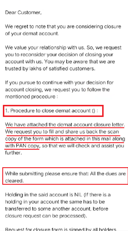 ICICI direct account close email