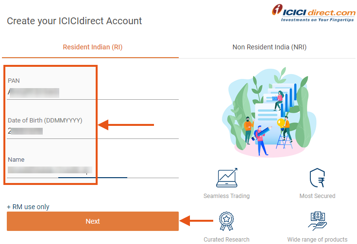 ICICI Direct account opening Step 1
